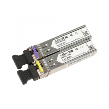 MikroTik Pair of SFP modules, S-45LC80D (1.25G SM 80km 1490nm) and S- 54LC80D (1.25G SM 80km 1550nm) - S-4554LC80D